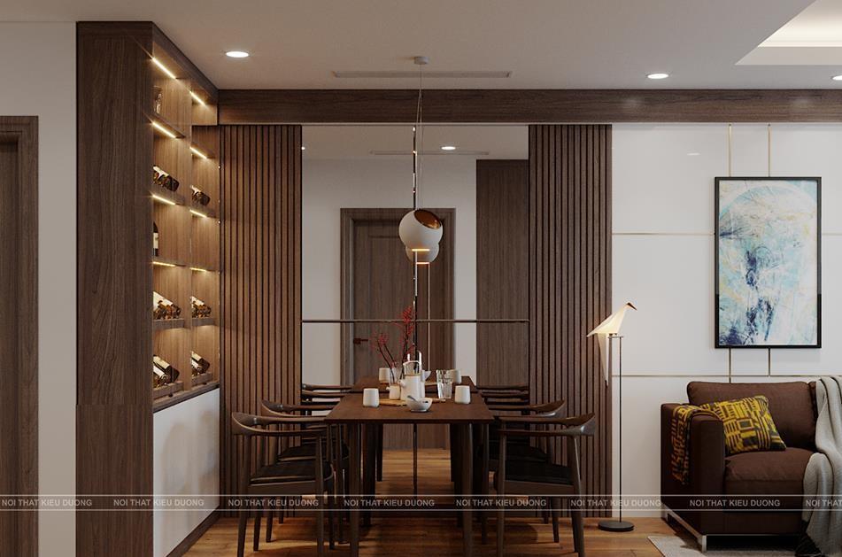 Màu nâu của gỗ kết hợp với màu trắng kem của tường bao, màu ghi của từng đồ vật trang trí tạo nên nét hài hòa , cân đối.